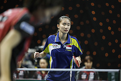 February 23, 2018 - London, England, United Kingdom - Mengyu YU of Singapore during ITTF Team World Cup match between Hina HAYATA of Japan and Mengyu YU of Singapore, Quarter Finals Women singles match on February 23, 2018 in Copper Box Arena, Olympic Park, London. (Credit Image: © Dominika Zarzycka/NurPhoto via ZUMA Press)
