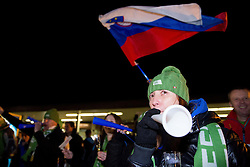 Supporters of Zan Kosir at reception of Slovenia team arrived from Winter Olympic Games Sochi 2014 on February 25, 2014 at Airport Joze Pucnik, Brnik, Slovenia. Photo by Vid Ponikvar / Sportida