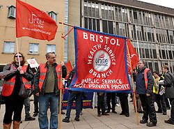 © Licensed to London News Pictures. 10/05/2012. Bristol, UK. Striking public sector workers march from the Bristol Royal Infirmary to the city centre on the day of the National Pensions Strike by public sector unions. The march was followed by an indoor rally with speakers from trade unions and the Bristol & District Anti-Cuts Alliance..Photo credit : Simon Chapman/LNP