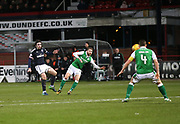 24th January 2018, Dens Park, Dundee, Scottish Premiership, Dundee versus Hibernian; Dundee's Jon Aurtenetxe fires a shot just over the bar