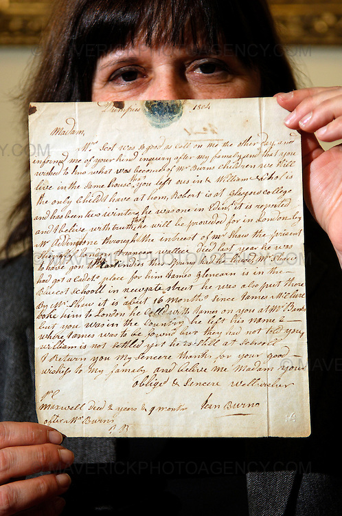 EDINBURGH, UK: - 25th January 2010:  A letter written by the widow of Robert Burns in the years following his death is set to be handed over to the National Library of Scotland after the page was discovered in a New York junk shop last year by American scholar Dr Nancy Groce who paid $75 for it.  Dated 1804, Jean Armour writes about the death of two of her children and how she remains in the home she shared with the poet before his death in 1796.  It is thought the letter was intended for Maria Riddell, a woman from a local landed family, who lived in Dumfries. Pictures shows Dr Nancy Groce holding the letter.   (Photograph: Richard Scott/MAVERICK)