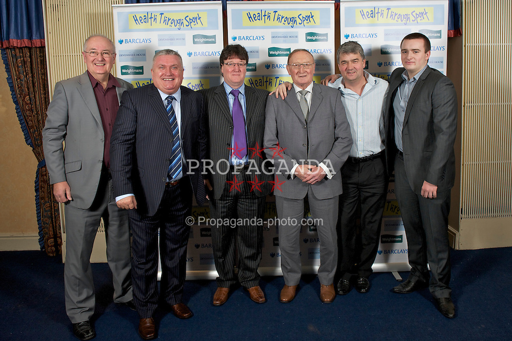 LIVERPOOL, ENGLAND - Friday, November 26, 2010: BBC Radio Merseyside's Alan Jackson, Ronnie Goodlass, xxxx, xxxx, Ian Snodin, xxxx during a Health Through Sport Charity Dinner at the Devonshire House. (Photo by David Rawcliffe/Propaganda)