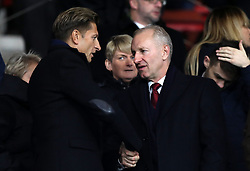 Crystal Palace chairman Steve Parish (left) shakes hands with Southampton chairman Ralph Krueger in the stands during the Premier League match at St Mary's Stadium, Southampton.
