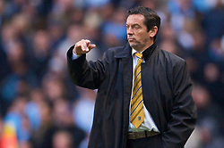 MANCHESTER, ENGLAND - Saturday, November 28, 2009: Hull City's manager Phil Brown during the Premiership match against Manchester City at the City of Manchester Stadium. (Photo by David Rawcliffe/Propaganda)