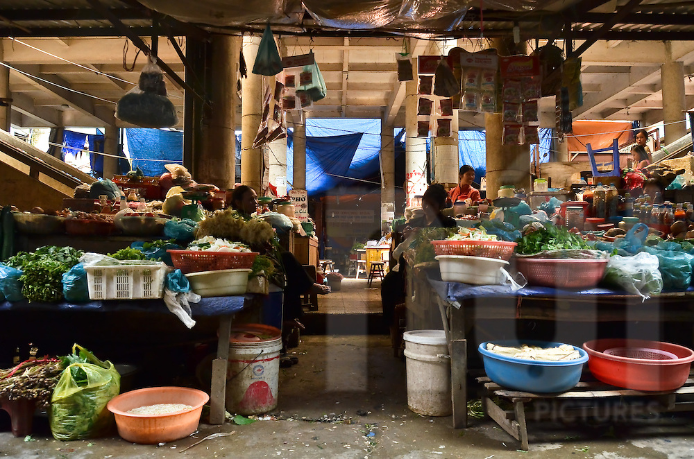 View of the market, Sapa city, Lao Cai province, North Vietnam.