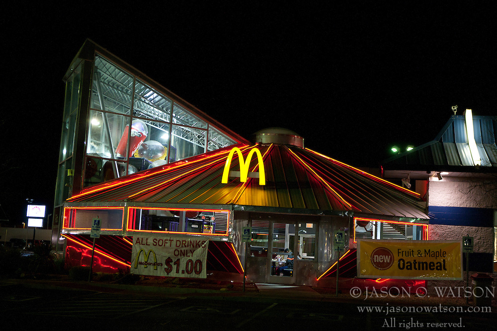 Exterior of McDonald's restaurant at night, shaped like a flying saucer, Roswell, New Mexico, United States of America