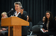 HCCS Coleman College president Dr. Betty Young comments during the Pharmacy Technology white coat ceremony at Jane Long Academy, March 7, 2014.