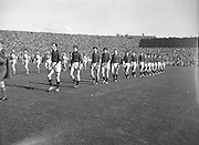 Down players parade before All Ireland Senior Gaelic Football Final Down v. Offaly in Croke Park on the 24th September 1961.