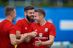 LOS ANGELES, USA - Saturday, May 26, 2018: Wales' Joe Ledley and Chris Gunter during a training session at the UCLA Drake Track and Field Stadium ahead of the International friendly match against Mexico. (Pic by David Rawcliffe/Propaganda)