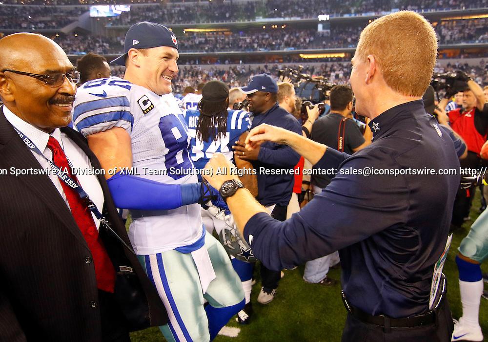 21 DEC 2014: Dallas Cowboys Head Coach Jason Garrett and Dallas Cowboys Tight End Jason Witten (82) [3533]  following an NFL regular season game between the Indianapolis Colts and Dallas Cowboys at AT&T Stadium in Arlington, TX. Cowboys won 42-7.