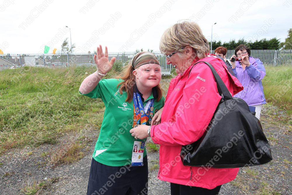 Ciara O Loughlin who won two silver medals at the Special Olympics pictured in Shannon on her return home on Tuesday.<br /> Pic. Brian Arthur/ Press 22