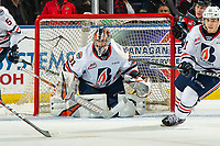 KELOWNA, BC - OCTOBER 12: Dylan Garand #31 of the Kamloops Blazers defends the net against the Kelowna Rockets at Prospera Place on October 12, 2019 in Kelowna, Canada. (Photo by Marissa Baecker/Shoot the Breeze)