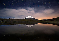 Stars over the Cotopaxi volcano, Cotopaxi National Park, Ecuador.