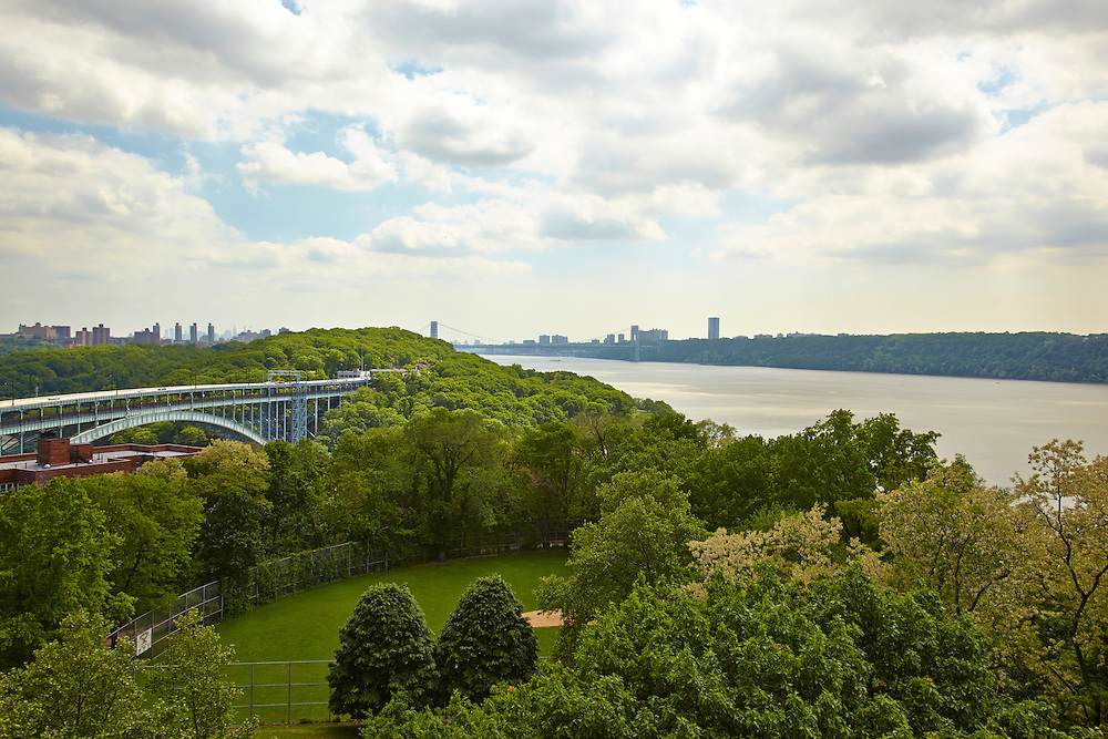 View of Hudson River, George Washington Bridge and Henry Hudson Parkway Bridge from Riverdale, 750 Kappock Street