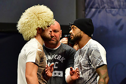 "Nov 12, 2016 - New York, New York, U.S. - Khabib Nurmagomedov ""The Eagle"" and Michael Johnson 'The Menace' during weigh-in at UFC 205 in Madison Square Garden. during weigh-in at UFC 205 in Madison Square Garden. (Credit Image: ? Jason Silva/ZUMA Wire/ZUMAPRESS.com)"