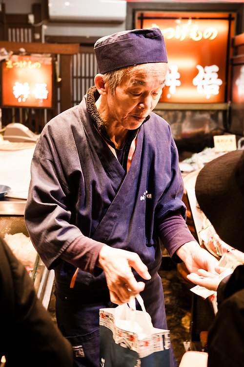 Pickle salesman at Nishiki Market, Kyoto
