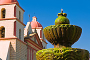 Spanish fountain at the Santa Barbara Mission (Queen of the missions), Santa Barbara, California