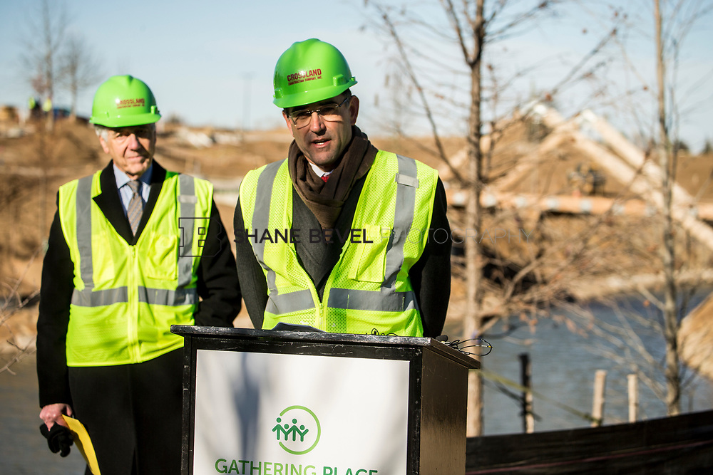 1/12/18 11:09:17 AM -- Halliburton CEO Jeff Miller and George Kaiser visit the Gathering Place for a press conference announcing Halliburton's support for the park. <br /> <br /> Photo by Shane Bevel