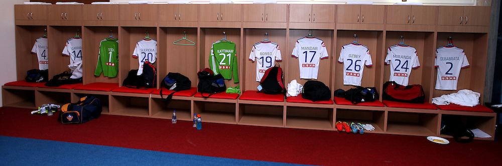 FC Goa dressing room before the start of the match 34 of the Hero Indian Super League between Mumbai City FC and FC Goa held at the D.Y. Patil Stadium, Navi Mumbai, India on the 17th November.<br /> <br /> Photo by:  Sandeep Shetty/ ISL/ SPORTZPICS