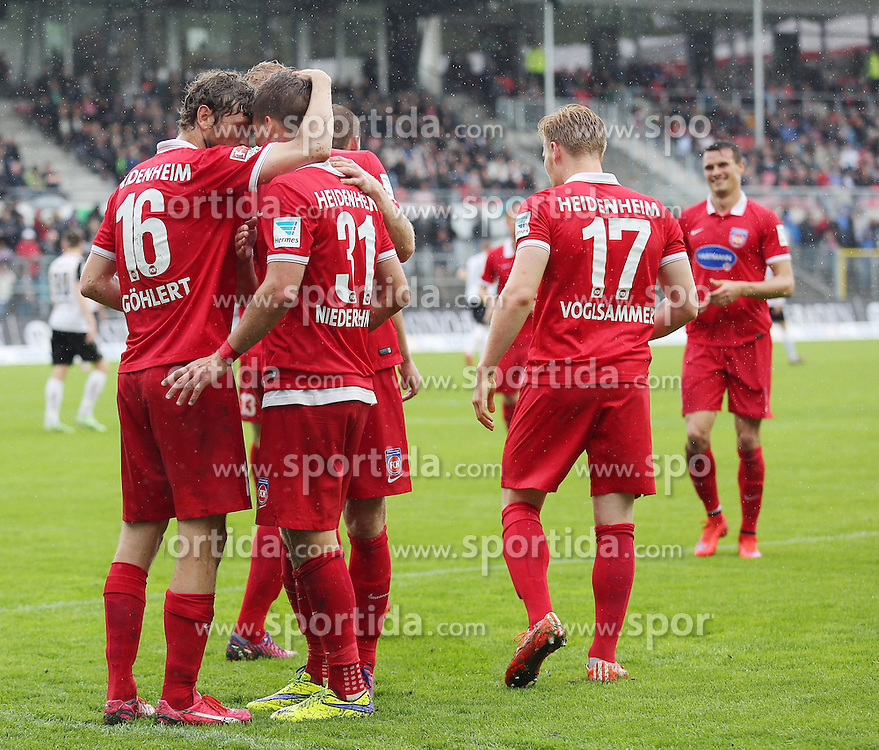 03.05.2015, Hardtwald, Sandhausen, GER, 2. FBL, SV Sandhausen vs 1. FC Heidenheim, 31. Runde, im Bild Florian Niederlechner (1.FC Heidenheim 1846 e.V.) bejubelt seinen Treffer zum 1-2 mit seinen Mitspielern // during the 2nd German Bundesliga 31th round match between SV Sandhausen and 1. FC Heidenheim at the Hardtwald in Sandhausen, Germany on 2015/05/03. EXPA Pictures &copy; 2015, PhotoCredit: EXPA/ Eibner-Pressefoto/ Bermel<br /> <br /> *****ATTENTION - OUT of GER*****