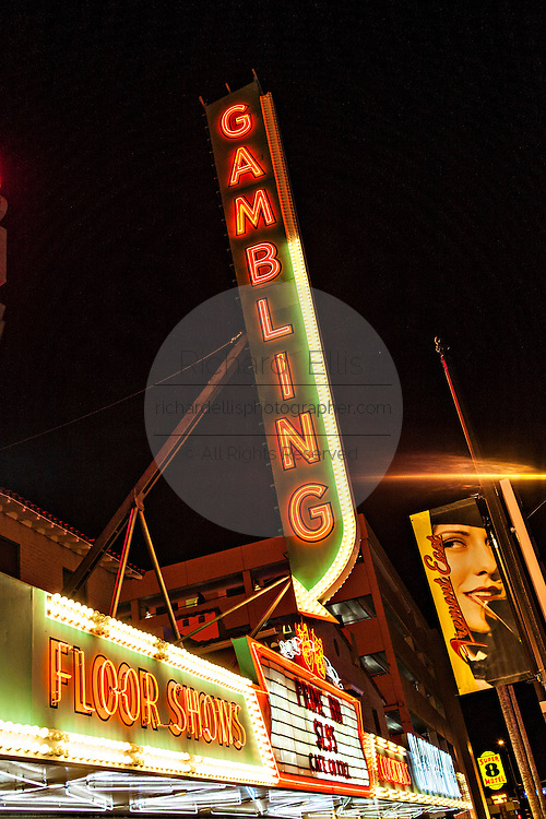 Neon lights in the Fremont district in Las Vegas, NV.