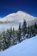 Fresh snow blankets Rampart Ridge, which overlooks Mount Rainier in Washington state.