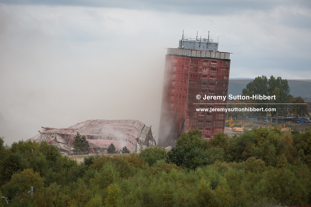 The demolition of the iconic Red Road flats, in the East End of Glasgow, Scotland, on Sunday, 11 October 2015.