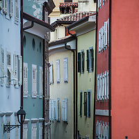 Colorful houses and buildings of the old city (Città Vecia) in Trieste, Italy