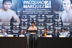 Sept 19, 2012; New York, NY, USA; Manny Pacquiao speaks during the press conference announcing his fourth fight against Juan Manuel Marquez at The Edison Ballroom.