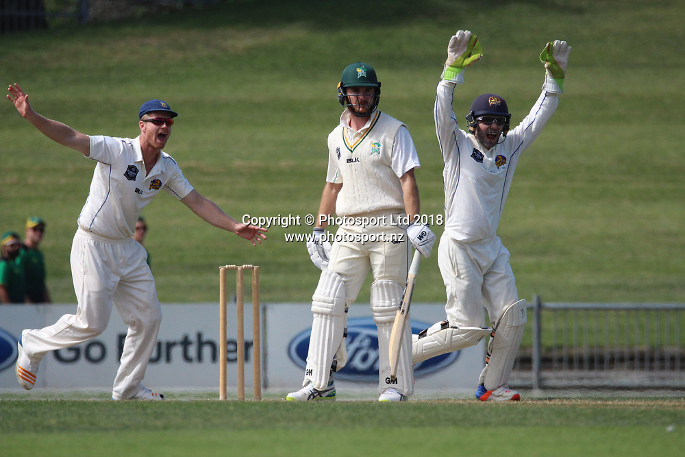 Otago Volts Jimmy Neesham and Derek de Boorder appeal against Ben Smith.<br /> Central Stags v Otago Volts - Day 3, Round 6 of the Plunket Shield cricket series at McLean Park, Napier, New Zealand.<br /> 3 March 2018.<br /> Copyright photo: Margo Butcher / www.photosport.nz