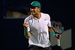 August 6, 2018 - Toronto, ON, U.S. - TORONTO, ON - AUGUST 06: Borna Coric (CRO) celebrates after winning a point during his first round match of the Rogers Cup tennis tournament on August 6, 2018, at Aviva Centre in Toronto, ON, Canada. (Photograph by Julian Avram/Icon Sportswire) (Credit Image: © Julian Avram/Icon SMI via ZUMA Press)