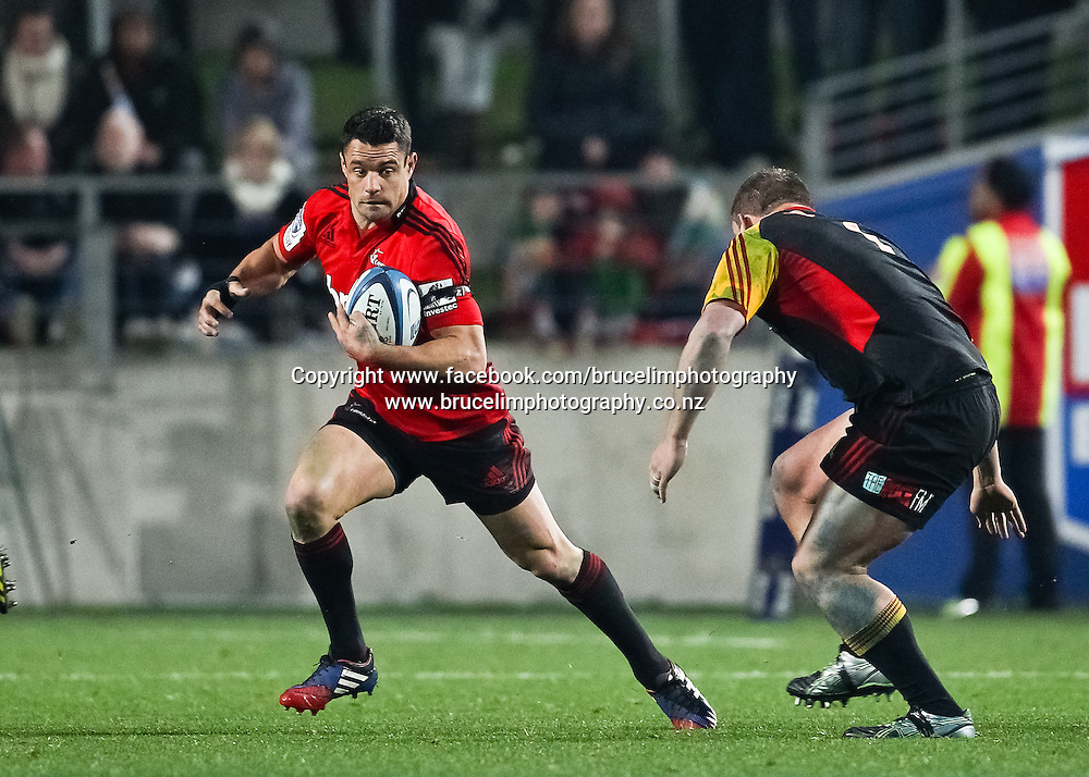 Crusaders' Dan Carter during the Super 15 rugby union semi final match, Chiefs v Crusaders at Waikato Stadium, Hamilton on Saturday 27 July 2013.  Photo:  Bruce Lim / Photosport.co.nz