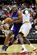 Oct. 30, 2010; Cleveland, OH, USA; Sacramento Kings power forward Carl Landry (24) drives past Cleveland Cavaliers power forward J.J. Hickson (21) during the third quarter at Quicken Loans Arena. The Kings beat the Cavaliers 107-104. Mandatory Credit: Jason Miller-US PRESSWIRE