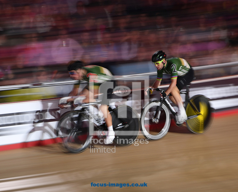 Mark Cavendish stays close to the wheel of Peter Kennaugh during the 2 lap Madison Time Trial on day four of the Six Day cycling series at Lee Valley VeloPark, London, UK<br /> Picture by Simon Dael/Focus Images Ltd 07866 555979<br /> 27/10/2017