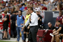 April 29, 2018 - Commerce City, Colorado - Orlando City SC head coach Jason Kreis reacts to a call by the officials in the second half of action in the MLS soccer game between Orlando City SC and the Colorado Rapids at Dick's Sporting Goods Park in Commerce City, Colorado (Credit Image: © Carl Auer via ZUMA Wire)