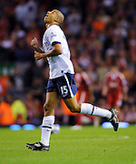 Curtis Davies celebrates scoring the second goal for Aston Villa  during the Barclays Premier League match between Liverpool and Aston Villa at Anfield on August 24, 2009 in Liverpool, England.