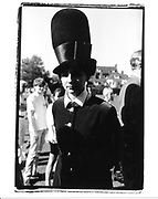 Selina Blow in Philip Treacy hat. Fraser wedding. 1991 approx. © Copyright Photograph by Dafydd Jones 66 Stockwell Park Rd. London SW9 0DA Tel 020 7733 0108 www.dafjones.com