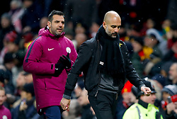 Manchester City manager Pep Guardiola leaves th pitch at half time during the Premier League match at Old Trafford, Manchester.