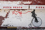 """I Love NY"" mural on East 81 St and Third Ave; mural by Nick Walker"