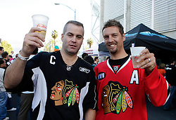 May 18, 2010; San Jose, CA, USA; Chicago Blackhawks fans participate in a street rally before game two of the western conference finals of the 2010 Stanley Cup Playoffs against the San Jose Sharks at HP Pavilion.  The Blackhawks defeated the Sharks 4-2. Mandatory Credit: Jason O. Watson / US PRESSWIRE