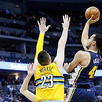 10 April 2016: Utah Jazz forward Trey Lyles (41) goes for the jump shot over Denver Nuggets center Jusuf Nurkic (23) during the Utah Jazz 100-84 victory over the Denver Nuggets, at the Pepsi Center, Denver, Colorado, USA.