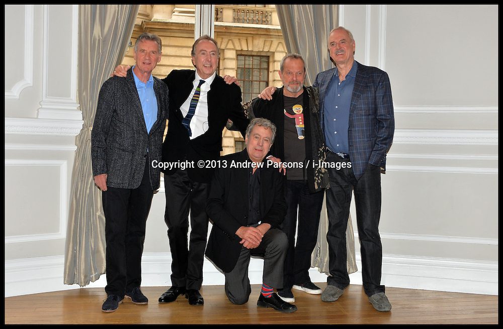 L to R Michael Palin, Eric Idle, Terry Jones,Terry Gilliam,  John Cleese pose for photographers  at the <br /> Photocall for the Monty Python reunion. London, United Kingdom. Thursday, 21st November 2013. Picture by Andrew Parsons / i-Images