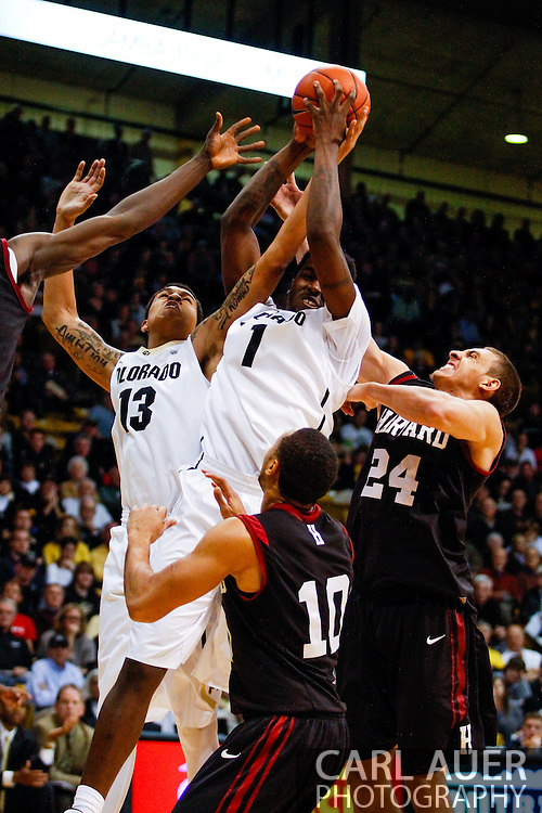November 24th, 2013:  Colorado Buffaloes redshirt freshman forward Wesley Gordon (1) and freshman forward Dustin Thomas (13) gain control of a rebound from Harvard Crimson junior forward Jonah Travis (24) and senior guard Brandyn Curry (10) in the second half of action in the NCAA Basketball game between the Harvard Crimson and the University of Colorado Buffaloes at the Coors Events Center in Boulder, Colorado