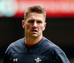 Jonathan Davies of Wales<br /> <br /> Photographer Simon King/Replay Images<br /> <br /> Six Nations Round 3 - Captains Run - Wales v England - Saturday 22nd February 2019 - Principality Stadium - Cardiff<br /> <br /> World Copyright © Replay Images . All rights reserved. info@replayimages.co.uk - http://replayimages.co.uk