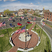 A low altitude aerial view of Memorial Park at the south end of the Memorial Bridge in Portsmouth, NH