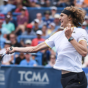 ALEXANDER ZVEREV hits a forehand during the men's singles final at the Citi Open at the Rock Creek Park Tennis Center in Washington, D.C. Zverev beat Kevin Anderson 6-4, 6-4.
