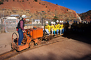Tourists riding mine train and enjoying Queen Mine tour, Bisbee, Arizona.©1994 Edward McCain.  All rights reserved.  McCain Photography, McCain Creative, Inc.