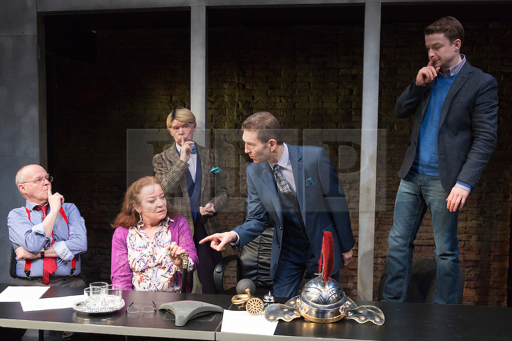 "© Licensed to London News Pictures. 16/04/2015. London, England. L-R: Jim Bywater, Clare Higgins, John Atterbury, Greg Hicks and Ryan Wichert. Arcola Theatre presents the World Premiere of the Fleet Street comedy ""Clarion"" by Mark Jagasia. The play is directed by Mehmet Ergen with Greg Hicks as power-crazed editor Morris Honeyspoon and Clare Higgins as washed-up journalist Verity Stokes. ""Clarion"" runs at the Arcola from 15 April to 16 May 2015. Photo credit: Bettina Strenske/LNP"
