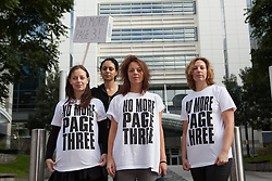 "© Licensed to London News Pictures. 13/10/2012. London, UK. Campaigners (left to right: Joanna Cheetham, Lucy Anne Holmes, Pavan Amara and Sarah Anderson) leave the News International offices in Wapping after delivering a letter to Dominic Mohan, editor of The Sun newspaper demanding an end to topless models on Page 3. An online petition started by Lucy Anne Holmes is campaigning to ""Take the bare boobs out of The Sun"". Photo credit : Vickie Flores/LNP"