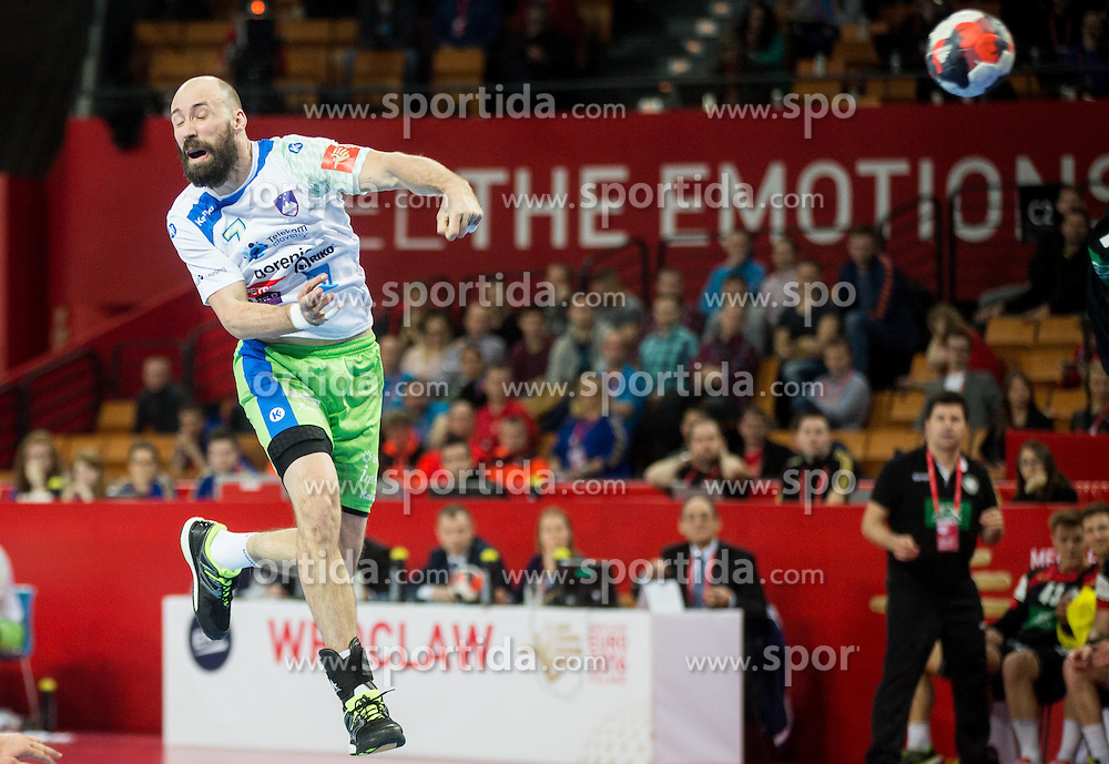 Vid Kavticnik of Slovenia during handball match between National teams of Germany and Slovenia on Day 6 in Preliminary Round of Men's EHF EURO 2016, on January 20, 2016 in Centennial Hall, Wroclaw, Poland. Photo by Vid Ponikvar / Sportida